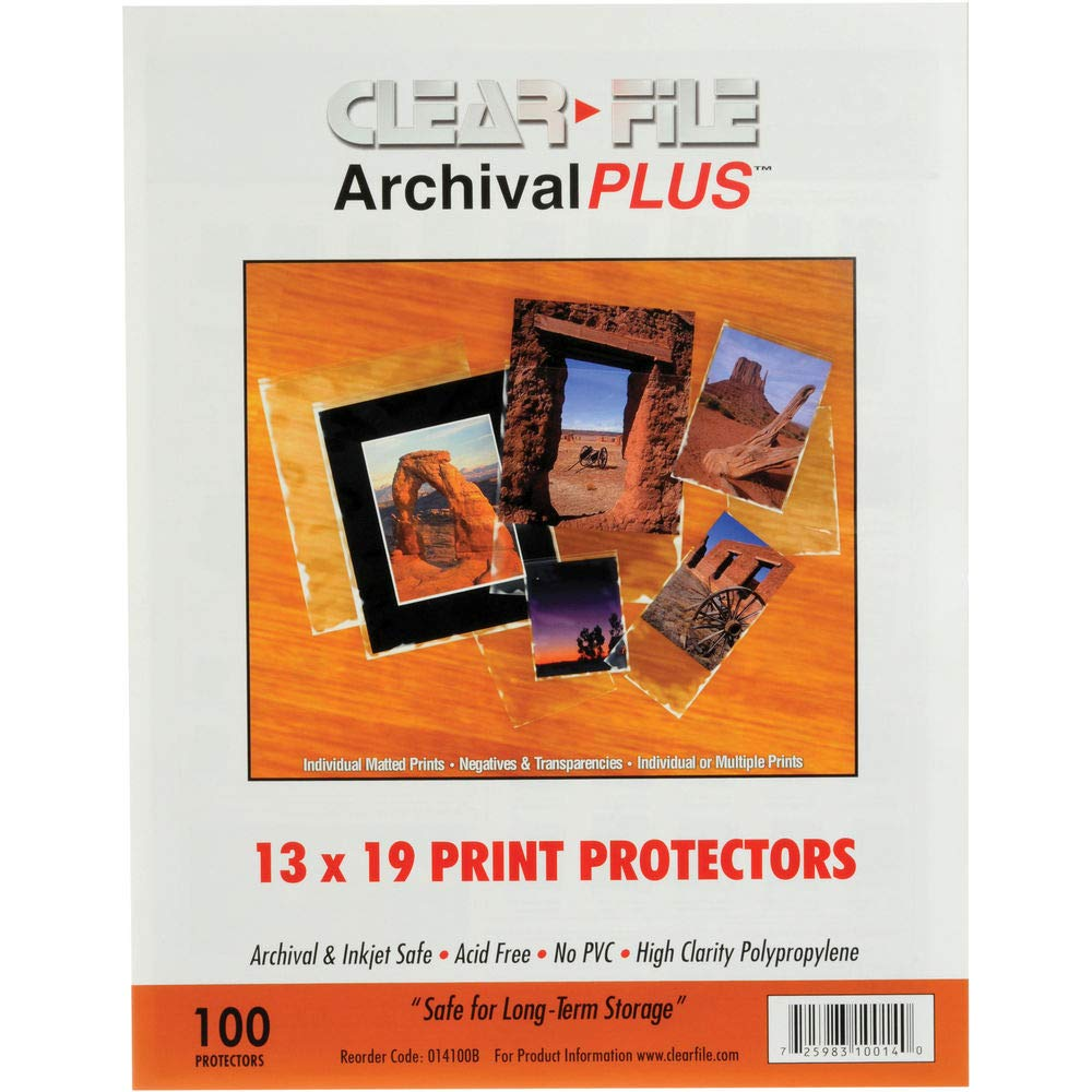 Archival-Plus Print Protector, 13 x 19'' - 100 Pack, 014100B, ARCHIVAL STORAGE-for Prints by Clear File
