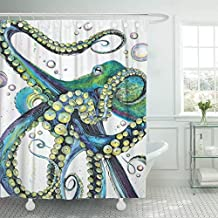 Emvency Shower Curtain Vintage Colorful Fashion Octopus Painting Polyester Fabric 78 X 72 Inches Shower Curtains Mildew Resistant Waterproof Adjustable Hook Odorless Bathroom