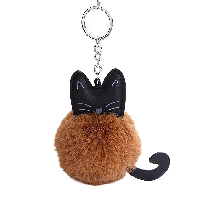Llavero de Piel sintética con Diseño de Gato Esponjoso y ...