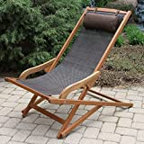 Wooden Sling Swing Outdoor/Patio Chaise Lounger with Pillow