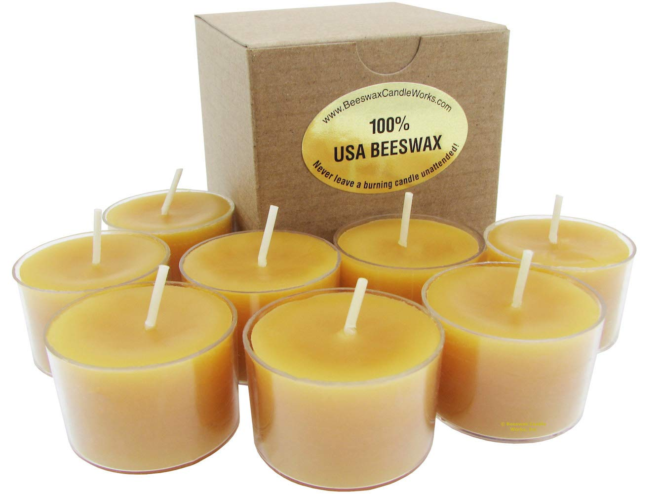 100% USA Beeswax 8 Hour Tall TeaLight Candles (Box of 32)