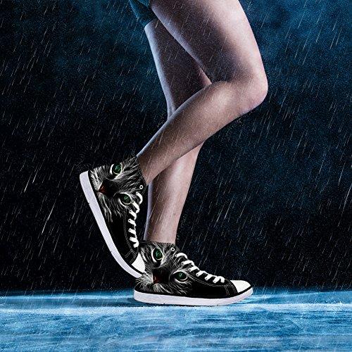 ThiKin 3Dプリント スニーカー キャンバス 猫 カジュアル 靴 シューズ 動物柄 人気 個性的 軽量 通気 おしゃれ ファッション 通勤 通学 プレゼント ブラック レディーズ メンズ