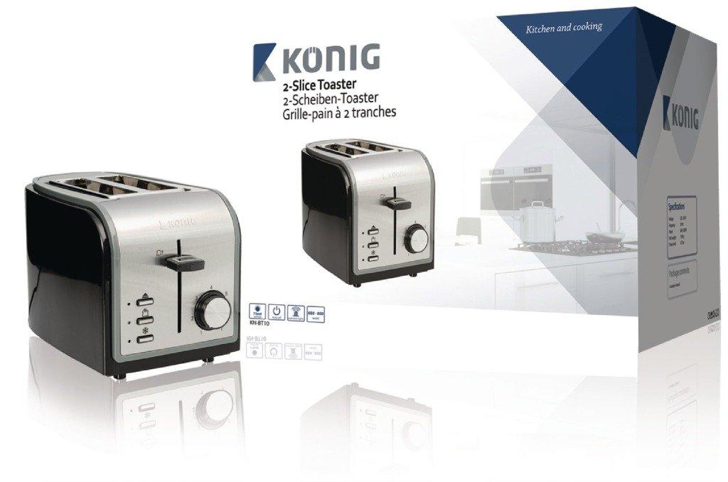 K/ÖNIG KN-BT10 Grille-Pain Noir//Argent 800 W