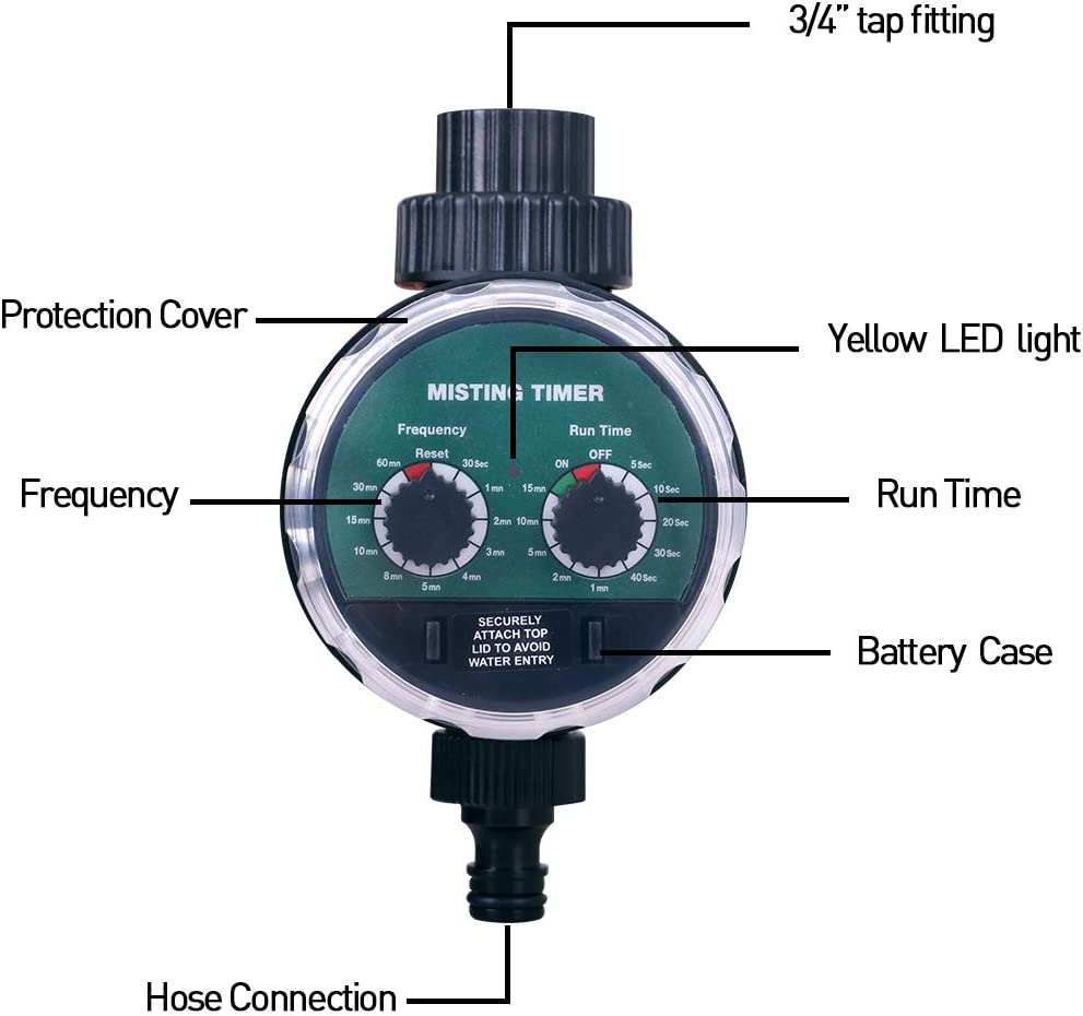 Garden Hose Water Tap Timer Automatic Misting Mode Watering Computer Electronic Irrigation System Controller with Ball Valve