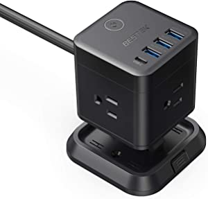 BESTEK Power Strip with USB, Vertical Cube Mountable Power Outlet Extender with 3 Outlets, 3 USB & 1 Type-C Ports, 5-Foot Extension Cord and Detachable Base for Easy Mounting