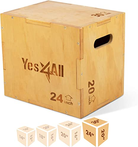 Yes4All madera Plyo caja/madera Plyo caja para ejercicio, Crossfit Training, MMA - SGQ6, D-Light wood color, 30x24x20 inch: Amazon.es: Deportes y aire libre