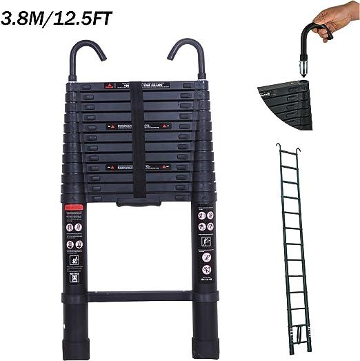 Escaleras telescópicas de 3,8 m, extensible de aluminio, ligera, ahorra espacio, multiusos, para el hogar, oficina, jardín, loft. Escaleras portátiles de escalón suave y antideslizante: Amazon.es: Bricolaje y herramientas