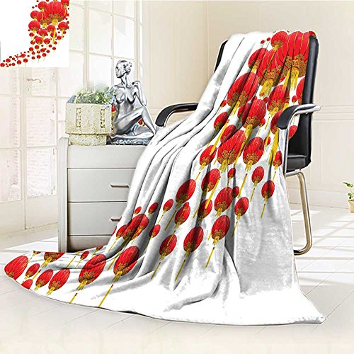 YOYI-HOME Duplex Printed Blanket,Suitable for Fall Winter Summer Spring Lantern Oval Shape Various Sized Many Lanterns Like Balloons Circle Form Artisan Golden Red Warm Elegant Cozy Fuzzy Fluffy Faux
