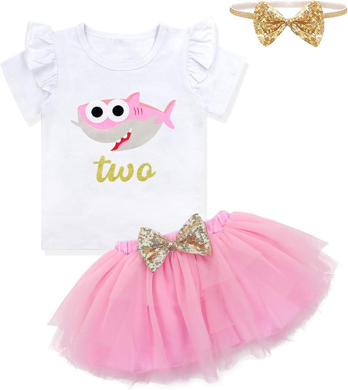Baby Girls Birthday Shark and Doo Doo Doo Romper + Tutu Dress 1st Birthday Outfit Set