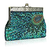 Women's Dazzling Sequins Beaded Evening Bag Peacock Clutch Handbag Chain Shoulder Bag for Wedding Bridal Party Prom
