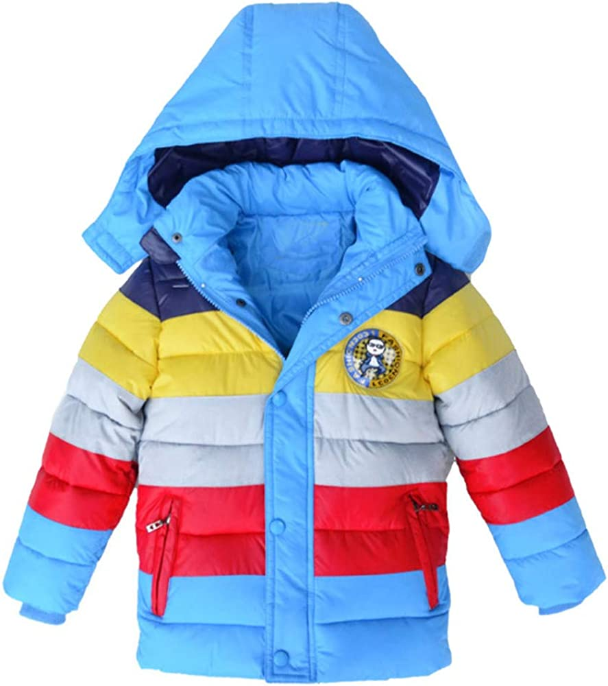 DIGOOD Teen Bbay Girls Striped Hooded Wadded Down Jacket Coat,Kids Thick Snowsuit Winter Warm Cloak Clothes