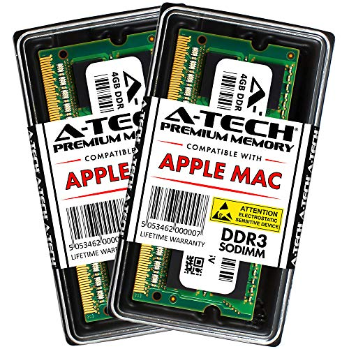 A-TECH 8GB Kit (2X 4GB) PC3-10600 DDR3 1333MHz SODIMM Memory Ram Upgrade for Apple MacBook Pro Early/Late 2011 13/15/17 inch, iMac Mid 2010 Mid/Late 2011 21.5/27 inch, Mac Mini Mid 2011 Core i5/i7