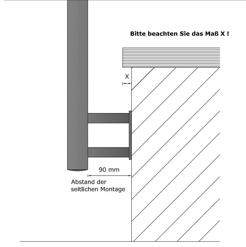 Gel/änder f/ür seitliche Montage an Treppen Balkone und Terrassen mit waagerechten Streben 1 Pfosten f/ür 5 Querstreben 90mm