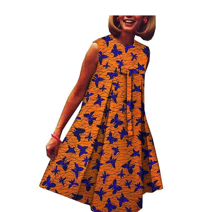 Vestido Africano para Mujer con Estampado de Cera y Lazo Dashikis ...