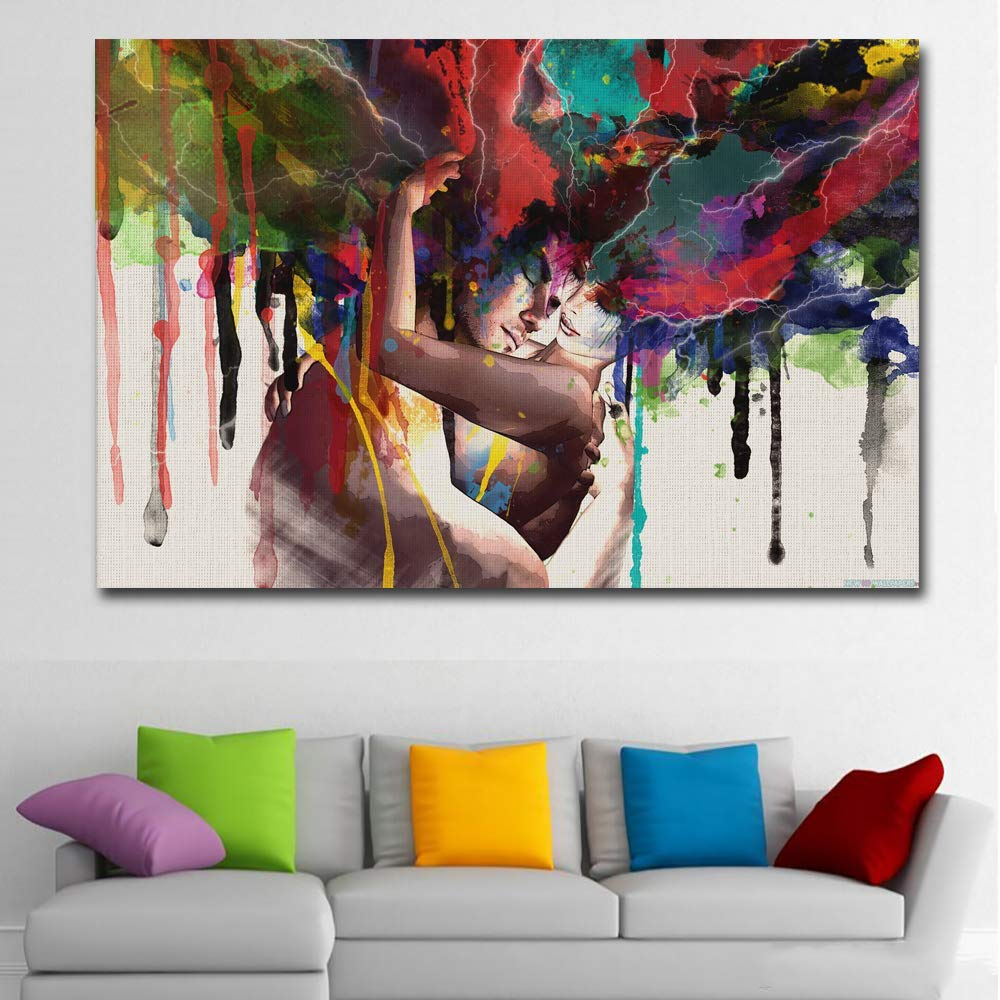 """Faicai Art Colorful Abstract Pop Art Women and Men Banksy Graffiti Paintings Wall Art Canvas Prints Posters Couple Huging Wall Decor Pictures for Living Room Home Office Decor Framed 32""""x48"""""""