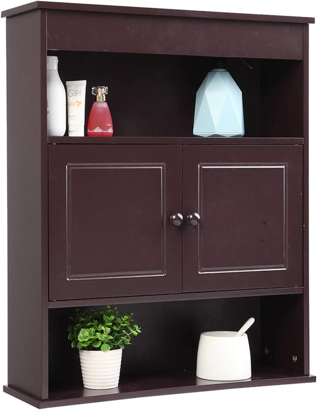 YADSHENG Bathroom Cabinet Bathroom Cabinet with Two-Door Bathroom Cabinet with Upper and Lower Floors, Brown Bathroom Furniture Storage Cabinets (Color : Brown, Size : 22.83x27.95x7.28 inches)