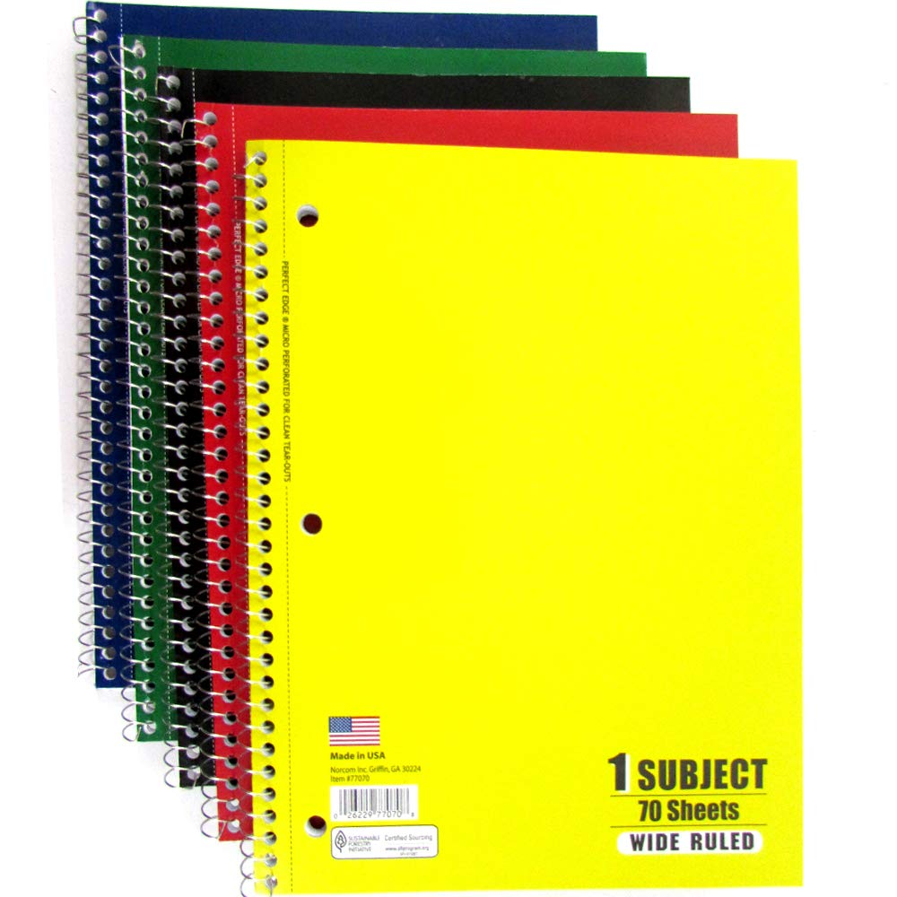 1 Subject Notebook Assorted Colors 70 sheets - Wide Ruled, Case Pack of 24, Ideal for Bulk Buyers