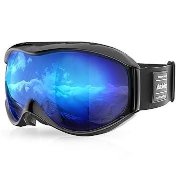 Gafas de Esquí Portadores de Gafas Protección Anti-Vaho Anti-Arañazos/Niebla UV400 Lentes Esféricas Espejadas Negras Gafas de Snowboard | Gafas para Hombre ...