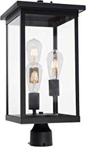 TODOLUZ 3-Lights Outdoor Post Porch Lantern Light Fixture with Clear Glass, Exterior Post Lighting in Black Finish for Backyard Path Doorway