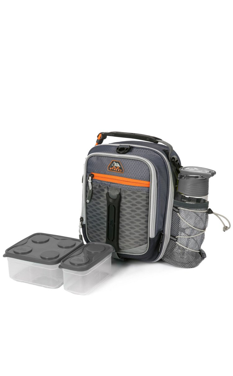 Arctic Zone High-Performance Dual-Compartment Lunch Box Set, Charcoal Gray/Orange