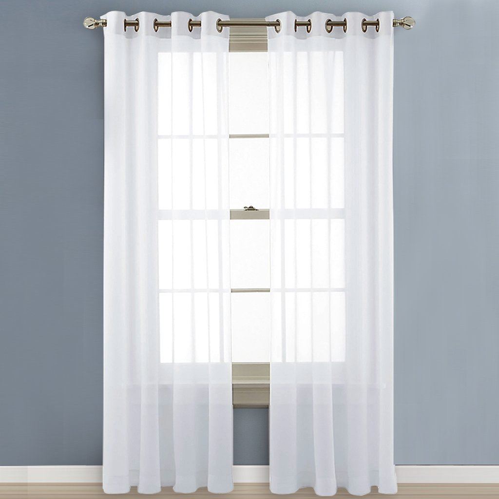 Nicetown Sheer Curtain Panels Bedroom - Home Decoration Solid Voile Panels with Ring Top