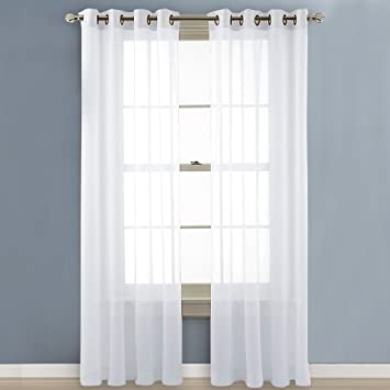Curtains Ideas 54 curtain panels : Amazon.com: Nicetown Sheer Window Curtain Panels - Solid White ...