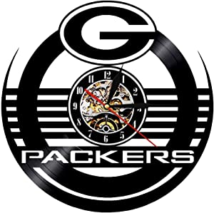 Vinyl Record Wall Clock Compatible with Green Bay Packers Steelers Themed Home Decor - Living Room Wall Clock Green Bay Packers Steelers Wall Art Decoration Gifts for Adults