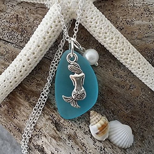 Handmade in Hawaii, turquoise bay blue sea glass necklace, mermaid charm, fresh water pearl, sterling silver chain,gift box,beach glass necklace,sea glass jewelry,beach glass jewelry, birthday gift
