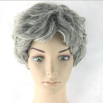LUCKY-U Peluca Gris Curly Corto Peluca Resistente al Calor Natural para Las Mujeres Más