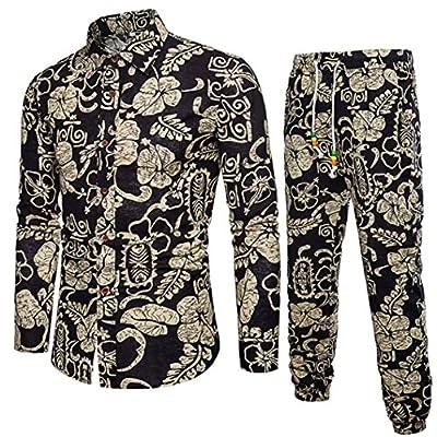 GREFER Mens Casual Long Sleeve Shirt Business Slim Fit Lapel Shirt Blouse Top+Pants