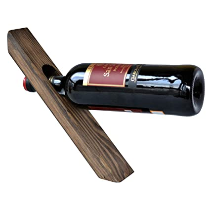 8709d0c511 Wood Wine Balancing Holder Gravity Defying Bottle Pine Free Standing Rack  Decorative Accessory: Amazon.ca: Home & Kitchen