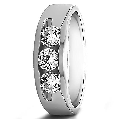 0,35 ct redondo Natural Diamond anillos de boda para hombre 14 K oro blanco