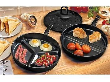 3 in1 brecha Wonder Combo dividido - Juego de sartenes antiadherente delicioso desayuno: Amazon.es: Hogar
