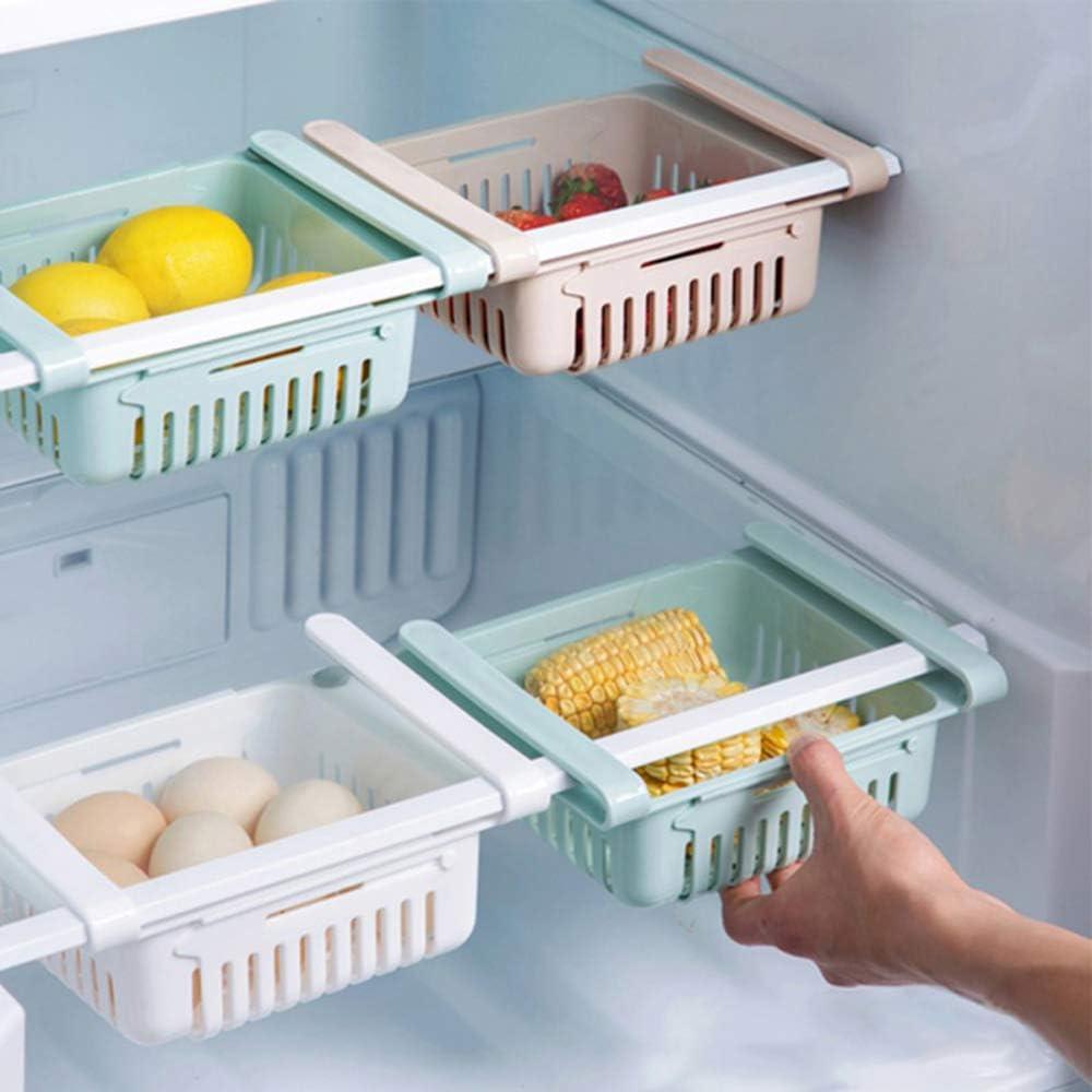1PC Fridge Organizer Drawer,Adjustable And Stretchable Fridge Organizer Fresh Spacer Layer Storage Rack Drawer Basket Refrigerator Pull-out Drawers,Blue