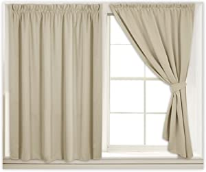 Self Sticky Room Darkening Curtain Panels for Small Windows, Light Shades Nursery Curtains for Bedroom, Insulated Panels with Self-sticky Strap & Ropes, W 40 in x L 54 in, Cream Beige, Set of 2
