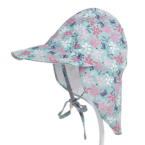 7bc56924 Baby Toddler Kids Sun Hat UV Protection Beach Swim Hats Neck Flap, Frog, S