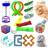 H-Partner Relieves Stress and Increase Focus Bundle Sensory Twisted Squeeze Fidget Toys Set- Fidget Chain/Cube, Infinity Magic Cube/Ball, Liquid Motion Timer Ferrofluid Bottle (15 Pack)
