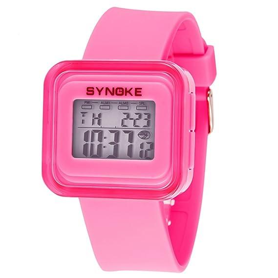 Reloj digital para niños,Resistente al agua 50 metros Luminoso Despertador Fecha Piscina Jalea reloj de Mesa para niños Niños y niñas-D: Amazon.es: Relojes