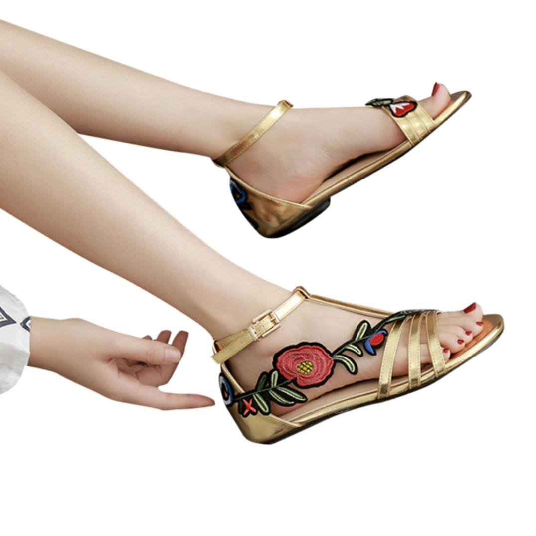 vermers Hot Sale Women Sandals Flats - Ladies Fashion Roman Rose Embroidery Floral Casual Shoes(US:6.5, Gold)