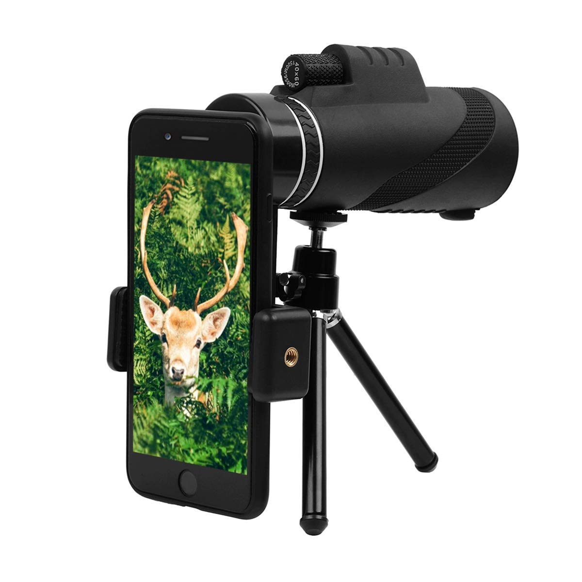 40x60 Monocular Telescope,GEMWON High-Powered BAK4 Prism FMC Lens Waterproof Scope with Smartphone Adapter Tripod Holder for Wildlife Like Bird-Watching,Travel,Concert,Sports etc