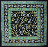 India Arts French Floral Square Cotton Tablecloth 60'' x 60'' Blue on Black