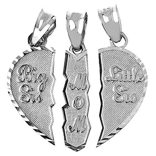 Textured Sterling Silver 3-Piece Mom and Daughters Breakable Heart Necklace Pendant (Broken, 3 Pieces)