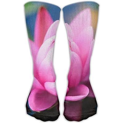 YUANSHAN Socks White-pink Lotus Women & Men Socks Soccer Sock Sport Tube Stockings Length 11.8Inch