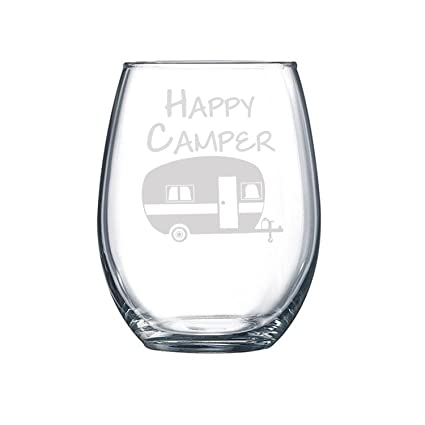 418d91e83a9 Amazon.com   Happy Camper by Fly Low Creations   Funny Stemless Wine ...