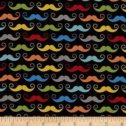 Riley Blake Geekly Chic Mustache Black Fabric By The Yard (Riley Blake Mustache Fabric)