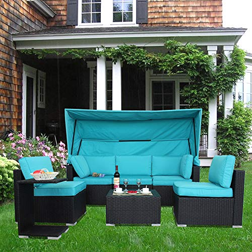 Patio Black Couch Outdoor Wicker Sofa Set Garden Rattan Furniture Turquoise Cushion Cover Cushioned Sectional Conversation Set with Double Storage Space Tea Coffee Side glassed Table (7pcs-Turquoise)