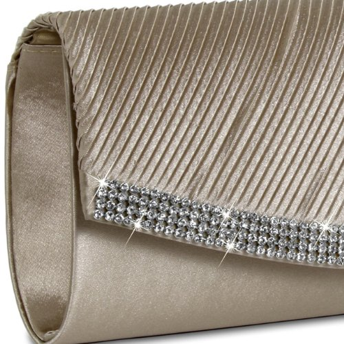 Satin Rhinestones TA291 Evening with Champagne Womens many Bag Clutch CASPAR colours Sparkling v7H5nx0