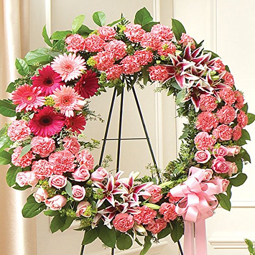 PlantShed - Serene Blessings Standing Wreath - Pink - Flower Hand Delivery in NYC Local Manhattan (Pink Casket Spray Flowers)