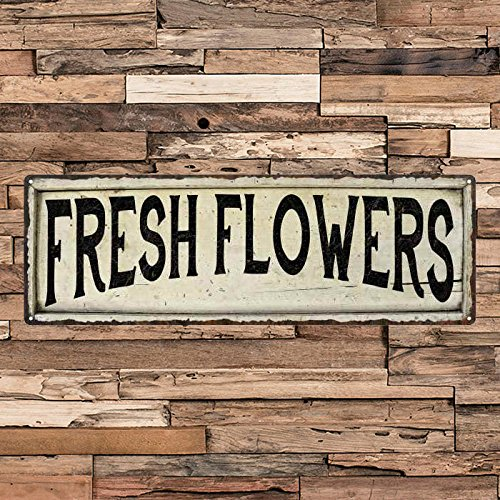 - ACOVE Fresh Cut Flowers Vintage Looking Shabby Chic Metal Sign Kitchen Home Wall Dcor