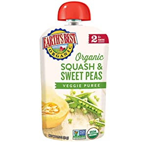 Earth's Best Organic Stage 2 Baby Food, Squash and Sweet Peas, 3.5 oz. Pouch (Pack of 12)